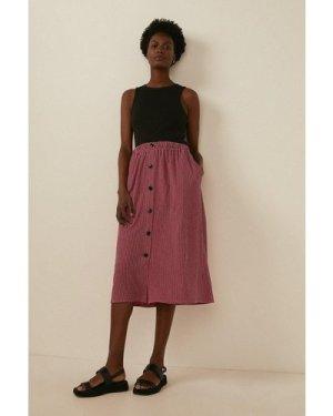 Womens Check Jersey Button Through Skirt