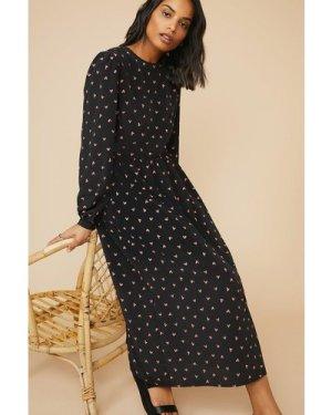 Womens Heart Printed Midi Dress