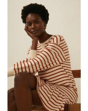 Womens Stripe Drop Hem Shift Dress