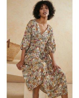 Womens Tropical Elephant Printed Smock Dress