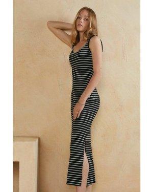 Womens Stripe Scoop Neck Maxi Dress