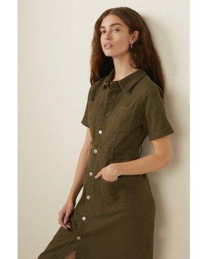 Womens Short Sleeved 4 Pocket Twill Midi Dress