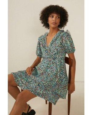 Womens Smudgey Crinkle Frill Wrap Dress