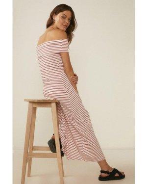 Womens Stripe Bardot Midi Dress