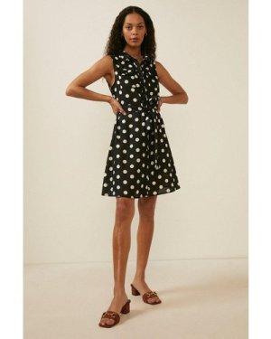 Womens Spot Print Linen Mini Sleeveless Shirt Dress