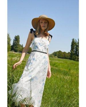 Womens Floral Print Tie Detail Midi Dress