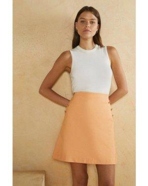 Womens Cotton Sateen Tailored Skirt