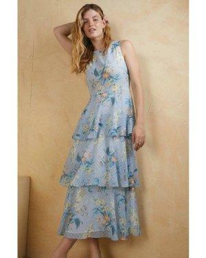 Womens Floral Printed Layered Midi Dress