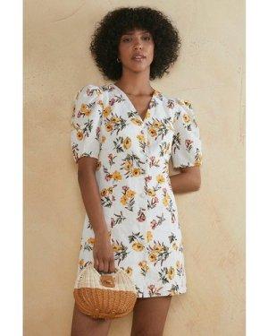 Womens Tropical Flower Button Dress