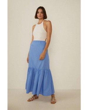 Womens Jersey And Poplin Mix Backless Maxi Dress