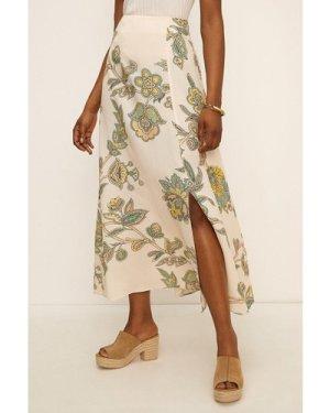 Womens Paisley Print Split Skirt