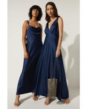 Womens Tie Strap Bias Cut Maxi Dress