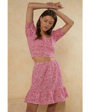Womens Micro Ditsy Mini Frill Skirt Co-ord