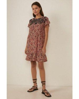 Womens Embellished Floral Print Smock Dress