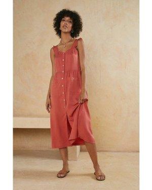 Womens Button Through Midi Dress
