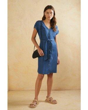 Womens Roll Sleeve Shirt Dress