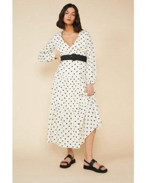 Womens Spot Print Midi Dress