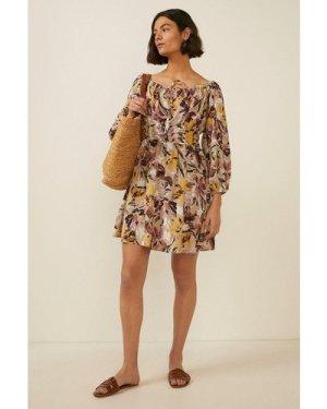 Womens Artist Flower Printed Bardot Dress