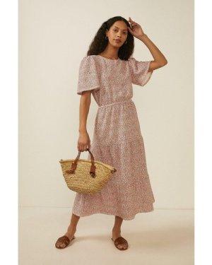 Womens Floral Textured Tiered Midi Dress