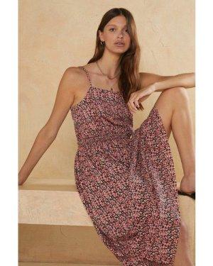 Womens Ditsy Crinkle Shirred Waist Midi Dress