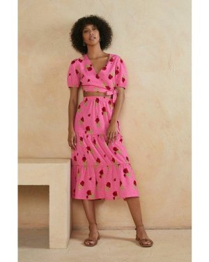 Womens Tiered Midi Skirt Co-ord