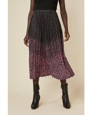 Womens Ombre Print Pleated Midi Skirt