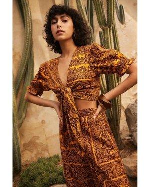 Womens Linen Look Tie Front Puff Sleeve Crop