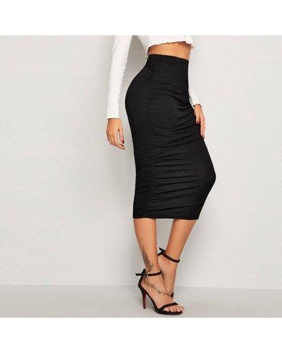 Solid High Waist Crinkle Pencil Skirt