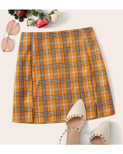 Plaid High-Rise M-Slit Mini Skirt