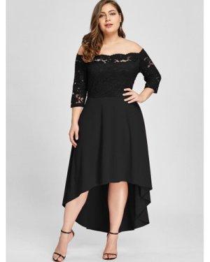 Plus Lace Overlay Dip Hem Off Shoulder Dress