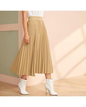 Wide Waist Band Pleated Skirt