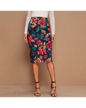 Floral Print High-Rise Pencil Skirt
