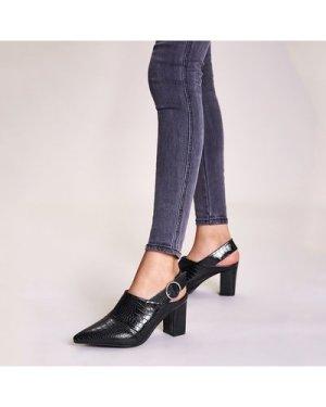 Point Toe Croc Buckle Strap Chunky Heels