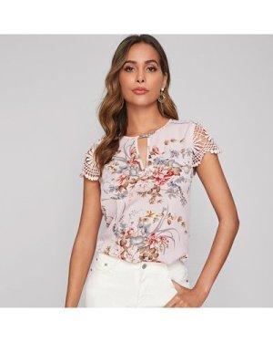 Guipure Lace Sleeve Keyhole Neckline Floral Top