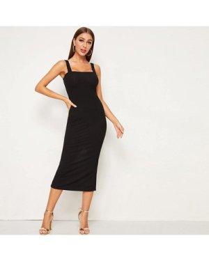 Split Back Rib-knit Fitted Pencil Cami Dress
