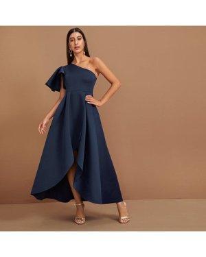 Exaggerate Ruffle Trim One Shoulder Wrap Dip Hem Dress