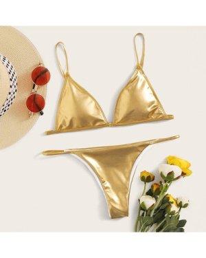 Metallic Triangle Thong Bikini Swimsuit