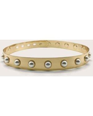 Faux Pearl Decor Metallic Belt