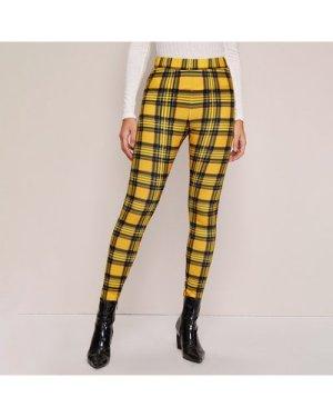 Plaid High-Rise Skinny Pants