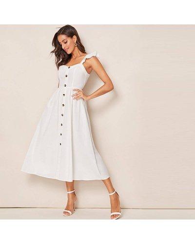 Button Front Ruffle Trim Slip Flare Dress