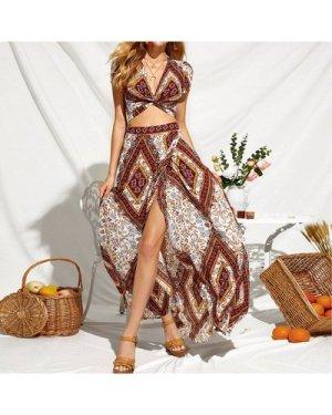Geo Print Twisted Crop Top & Maxi Skirt Set