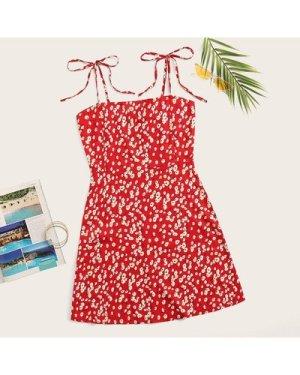 Ditsy Floral Self-Tie Cami Dress