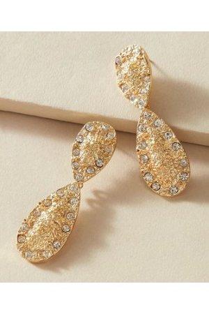 1pair Rhinestone Decor Textured Water Drop Earrings