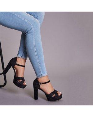 Cross Strap Chunky Heels