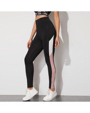 Colorblock Striped High-Rise Leggings