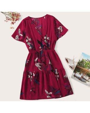 Surplice Floral Print Ruffle Hem Dress