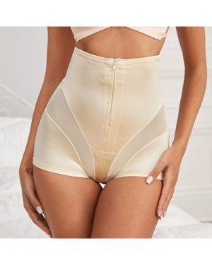 Contrast Mesh Zipper Front Shapewear Panty