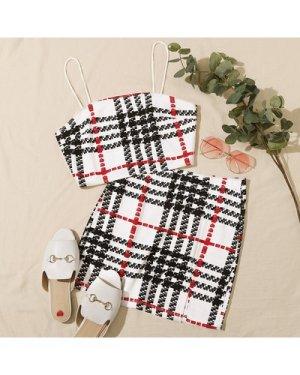 Plaid Crop Cami Top & Split Hem Skirt Set