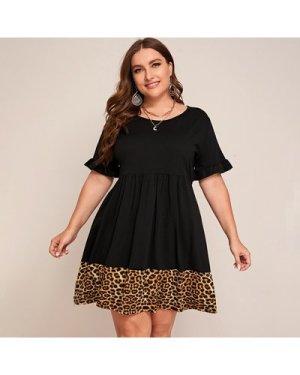 Plus Flounce Sleeve Leopard Hem Babydoll Dress