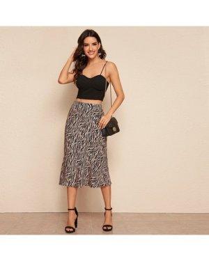 High Waist Zebra Striped Skirt